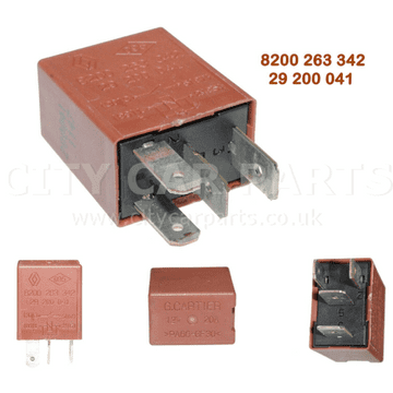 8200263342 Renault Modus Espace Scenic Twingo Master 4 Pin Brown Relay 29200041