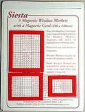 3 Magnetic Window Markers and Card for use with Magnetic Boards