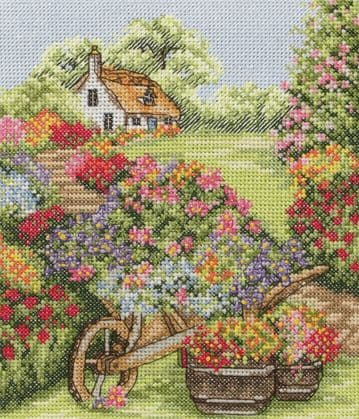 Anchor  Floral Wheelbarrow  Cross Stitch Kit - PCE749
