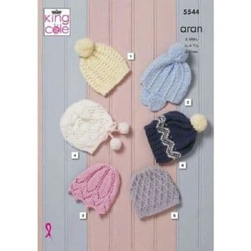 Baby & Childrens Hats Knitting Pattern in King Cole Comfort Aran , 5544