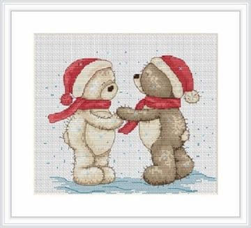 Bruno & Bianca Walk in the Snow Christmas Cross Stitch Kit from Luca-S B1015