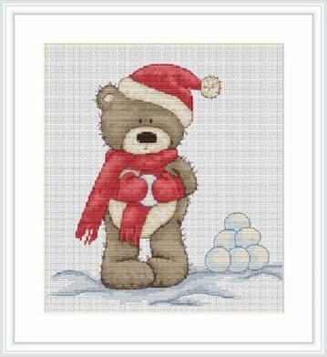 Bruno Makes Snowballs Christmas Cross Stitch Kit from Luca-S B1098