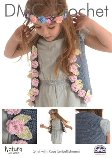 DMC Crochet Pattern 'GILET WITH ROSE EMBELLISHMENT'