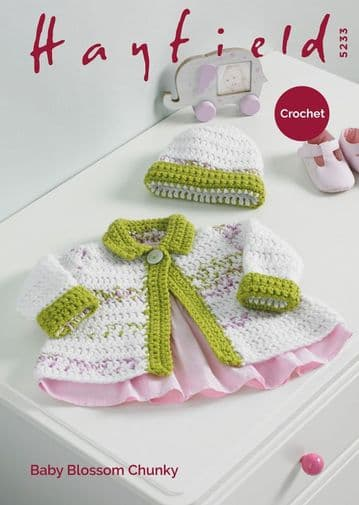 Hayfield Baby Girls Jacket & Hat Crochet Pattern, 5233