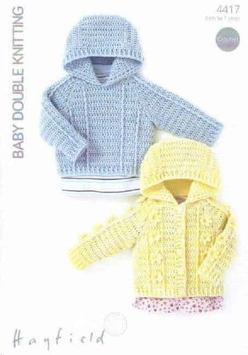 Hayfield Crochet Pattern 4417: Sweater and Jacket in Baby DK