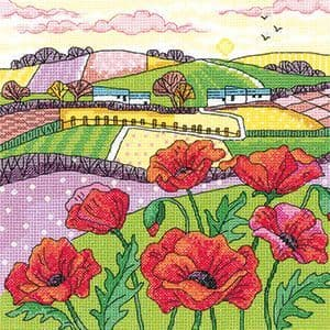 Heritage Crafts Karen Carter Collection Cross Stitch Kit - Poppy Landscape
