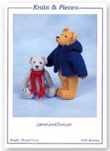 JAMIE AND DUNCAN TEDDY BEARS TOY KNITTING PATTERN