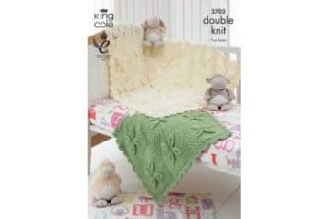 King Cole 3703 Knitting Pattern Baby Blankets