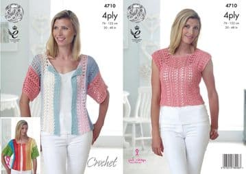 King Cole 4710 Crochet Pattern. Womens Top and Cardigan in King Cole Giza 4 Ply.
