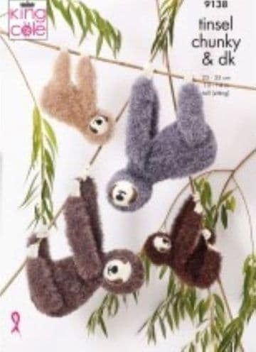King Cole 9138 Knitting Pattern Toy Sloths