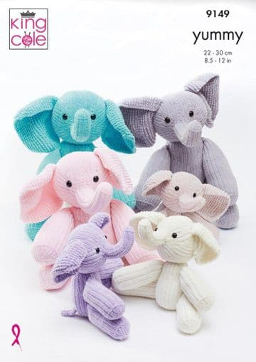 King Cole 9149 Knitting Pattern. Elephant Toys in King Cole Yummy.