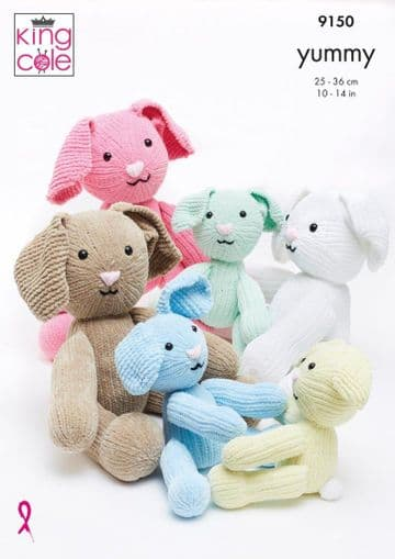King Cole 9150 Knitting Pattern. Rabbit Toys in King Cole Yummy.