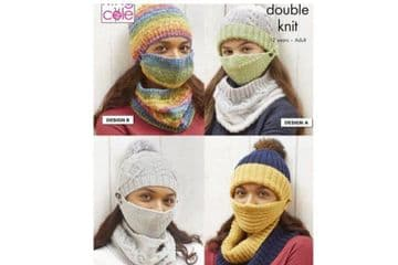 King Cole DK Knitting Pattern 5730. Face Coverings Hats & Cowls.