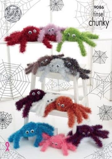 King Cole Tinsel Spiders  Knitting Pattern- 9086
