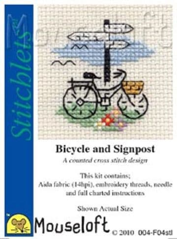 Mouseloft Stitchlets   Bicycle and Signpost