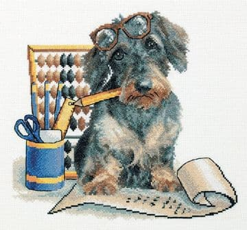 Panna  Accountant Pup  Cross Stitch Kit