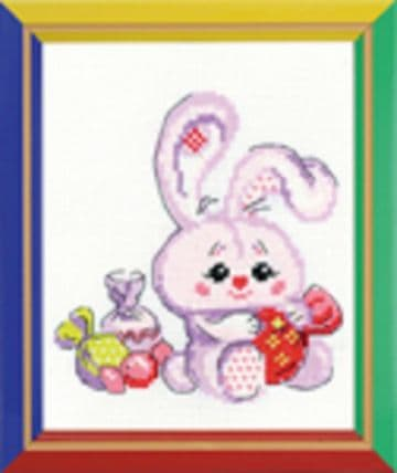 Riolis Cross Stitch Kit. BUNNY WITH A CANDY.