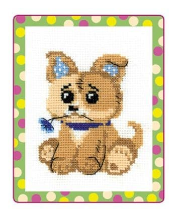 Riolis Cross Stitch Kit. PUPPY TOY. Suitable for kids or beginners. HB-131
