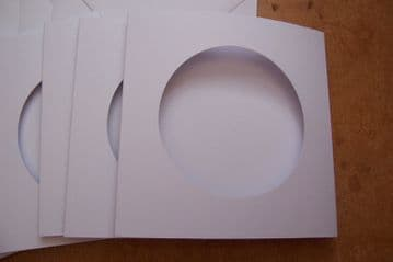 White  ROUND Aperture Cards 144 x 144 mm/ 5.5 X 5.5 inches with envelopes