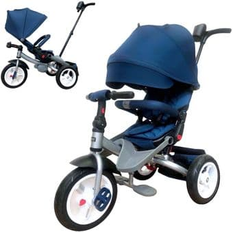 LITTLE TIGER 4 IN 1 KIDS TRIKE TRICYCLE ROTATING AND RECLINING SEAT COLOUR NAVY BLUE