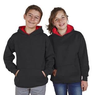 Children's Ultimate Contrast Black / Red Hoodie Design Your Own from