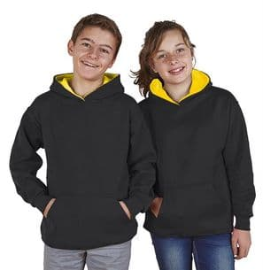 Children's Ultimate Contrast Black / Sunflower Hoodie Design Your Own from