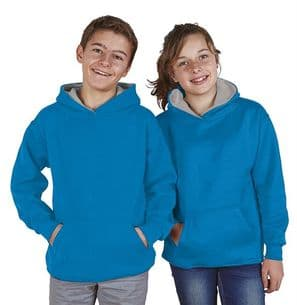 Children's Ultimate Contrast Electric Blue / Grey Hoodie Design Your Own from
