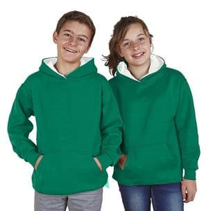 Children's Ultimate Contrast Kelly Green / White Hoodie Design Your Own from