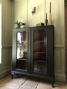 Antique Black Painted China Bookcase Glazed Drinks Cabinet Cupboard