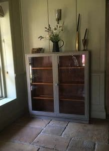 Antique Painted Grey Display China Bookcase  Glazed Cabinet Cupboard
