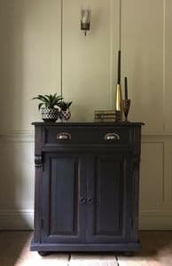 Painted Black Gustavian Style Cupboard With Drawer Hall Cabinet