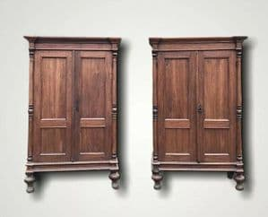 Small Vintage Pair Of French Solid Wood Armoires Bookcases Linen Cupboards