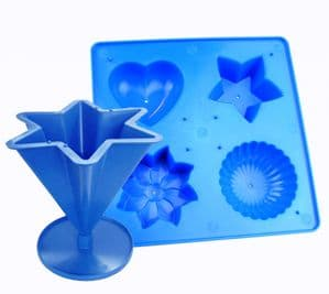 Candle Mould Set x 2, 1 x 6 Pointed Star & Tray with 4 Shapes, UK Made. S7601