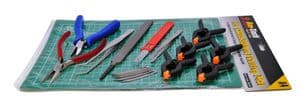 Craft and Model Tool Set, Clamps, Cutting Mat, Pliers, File, Tweezers, Craft Knife. S7641