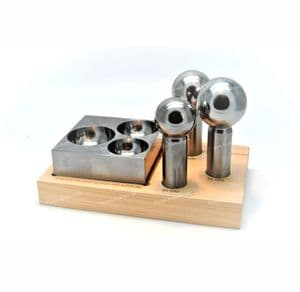 Doming Dapping Punch Set of 3, 40, 45, 50mm (Extra Large) Punches & Steel Block. J2243