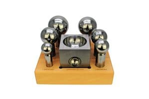 Doming Dapping Punch Set of 6, 32 - 63mm (Extra Large) Punches & Jumbo Steel Block.  J1328