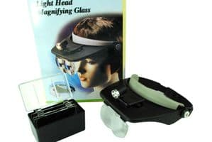 Headband Magnifier, Adjustable with Light and 4 Lenses 1.2x 1.8x 2.5x 3.5x. V5097