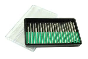 Jewellers/Watchmakers 20 Assorted Diamond Burrs 3.2mm Shank. M0203
