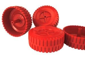 Proops 4 x 90mm dia 5mm Bore RED Wheels with Tread. Toy Car. S7317