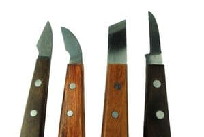 Sheffield Made Set x 4 Straight, Curved, Skew, Semi Curved Chip Carving Chisels. W3249
