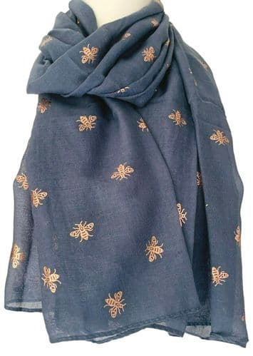 Bee Scarf Ladies Blue Rose Gold Tone Bumble Bees Wrap Cotton Blend Shawl Foil