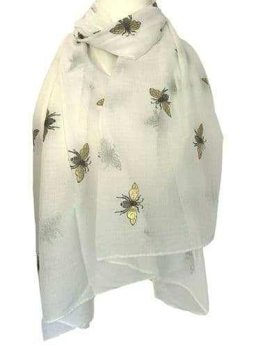 Bee Scarf Ladies Cream Bumble Bees Print Wrap Large Sparkly Gold Wings Shawl