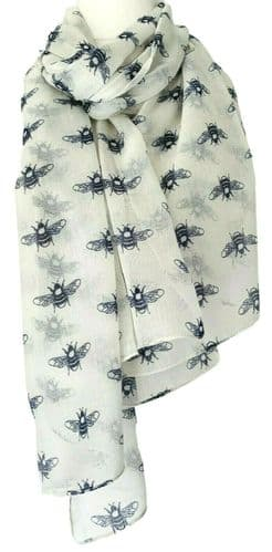 Bee Scarf Ladies Cream Bumble Bees Print Wrap Navy Blue Shawl Sarong