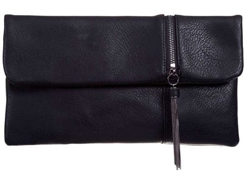 Black Clutch Bag Faux Leather Tassel Trim Evening Bag Envelope Bag Handbag