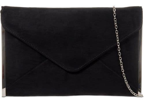 Black Clutch Bag Ladies Faux Suede Envelope Evening Shoulder Bag Silver Tone