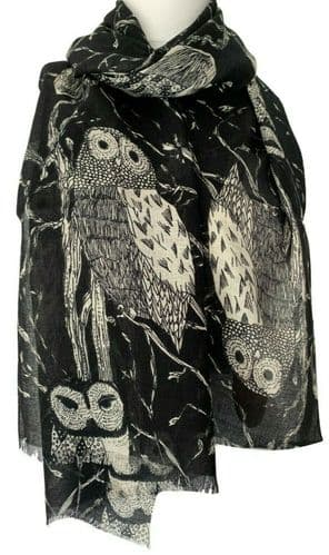 Black Owl Scarf Ladies Grey Owls Cotton Blend Bird Print Wrap Fair Trade Shawl