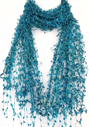 Blue Cobweb Scarf Ladies Teal Green  Lace Style Wrap Turquoise Lacy Hand Made Fair Trade Scarf