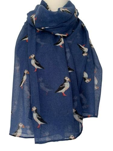 Blue Puffin Scarf Ladies Puffins Shawl Cute Large Navy Bird Print Wrap Birds