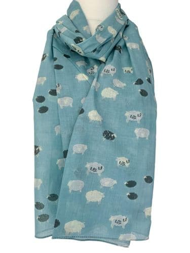 Blue Sheep Scarf Shruti Designs Ladies Cute Cotton Wrap Ladies Fashion Shawl Ewe Lamb