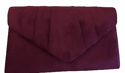 Burgundy Clutch Bag Wine Shoulder Bag Claret Red Faux Suede Prom Evening Bag